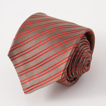 Kiton Brown and Red Ribbon Stripe Tie