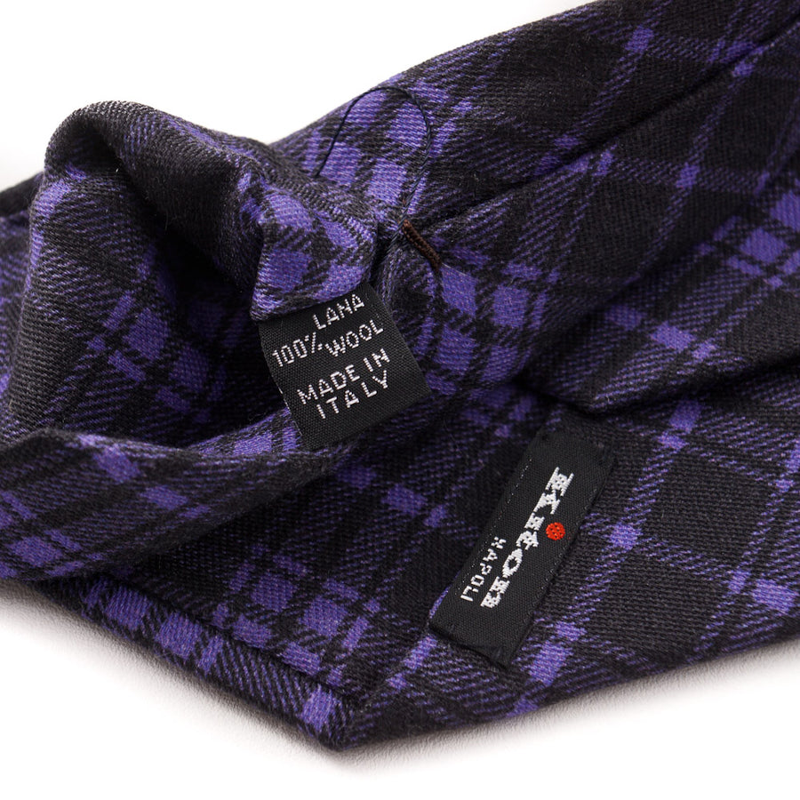 Kiton Purple and Black Plaid Wool Tie - Top Shelf Apparel