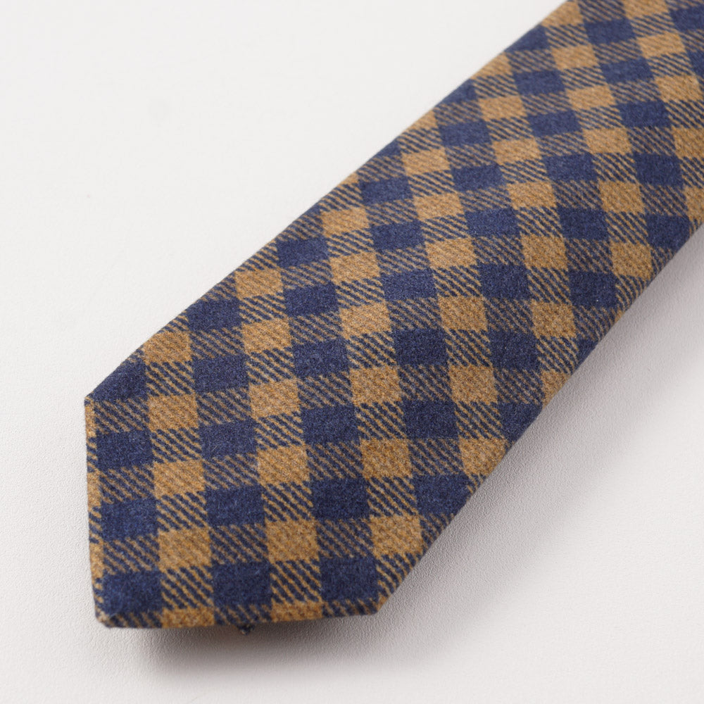 736b8415662d55 Kiton Camel Tan and Navy Check Cashmere Tie – Top Shelf Apparel