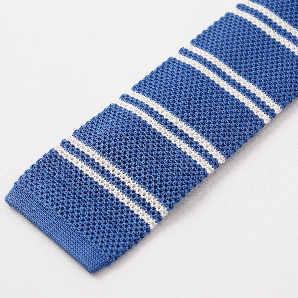 0f83aa3b4a1c13 Kiton Blue and White Striped Knit Silk Tie – Top Shelf Apparel