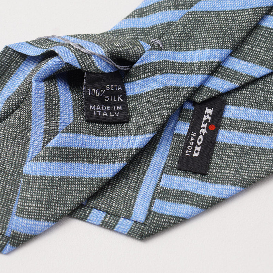 Kiton Dark Green and Blue Striped Silk Necktie