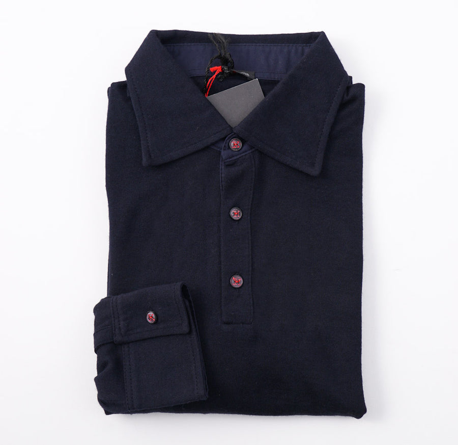 Kiton Navy Cashmere-Silk Polo Sweater
