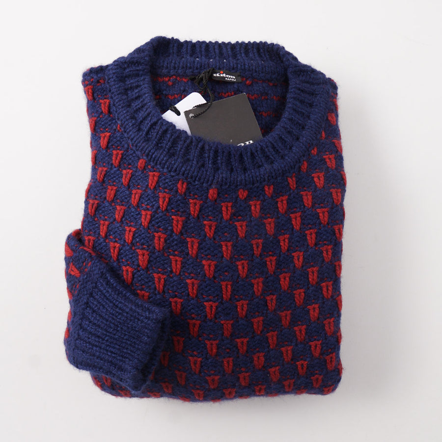 Kiton Blue and Red Patterned Regal Cashmere Sweater - Top Shelf Apparel