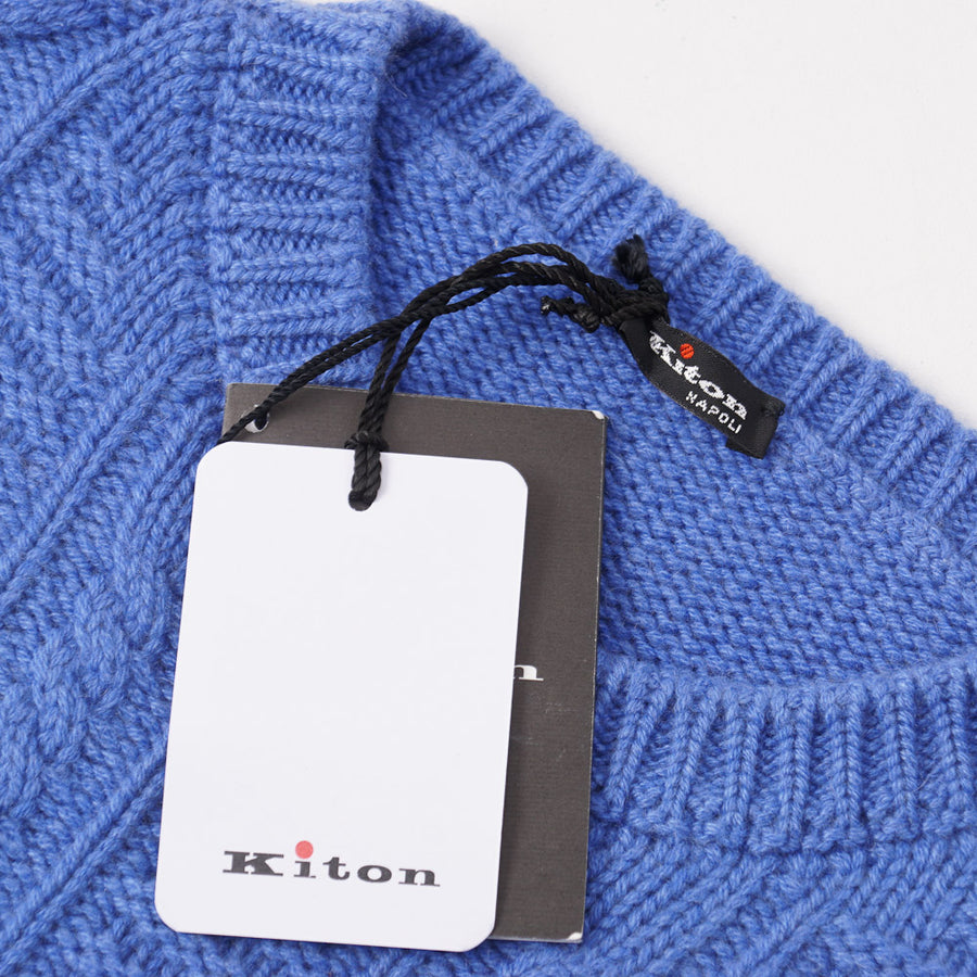 Kiton Cable Knit Regal Cashmere Sweater in Cornflower