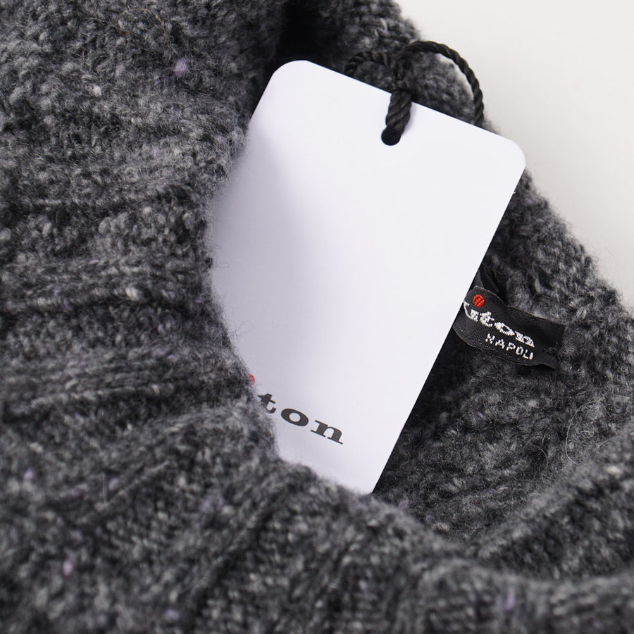 Kiton Cable Knit Regal Cashmere Sweater in Gray Melange