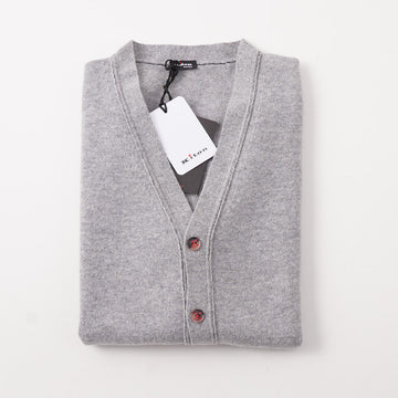Kiton Gray Regal Cashmere Cardigan Sweater Vest