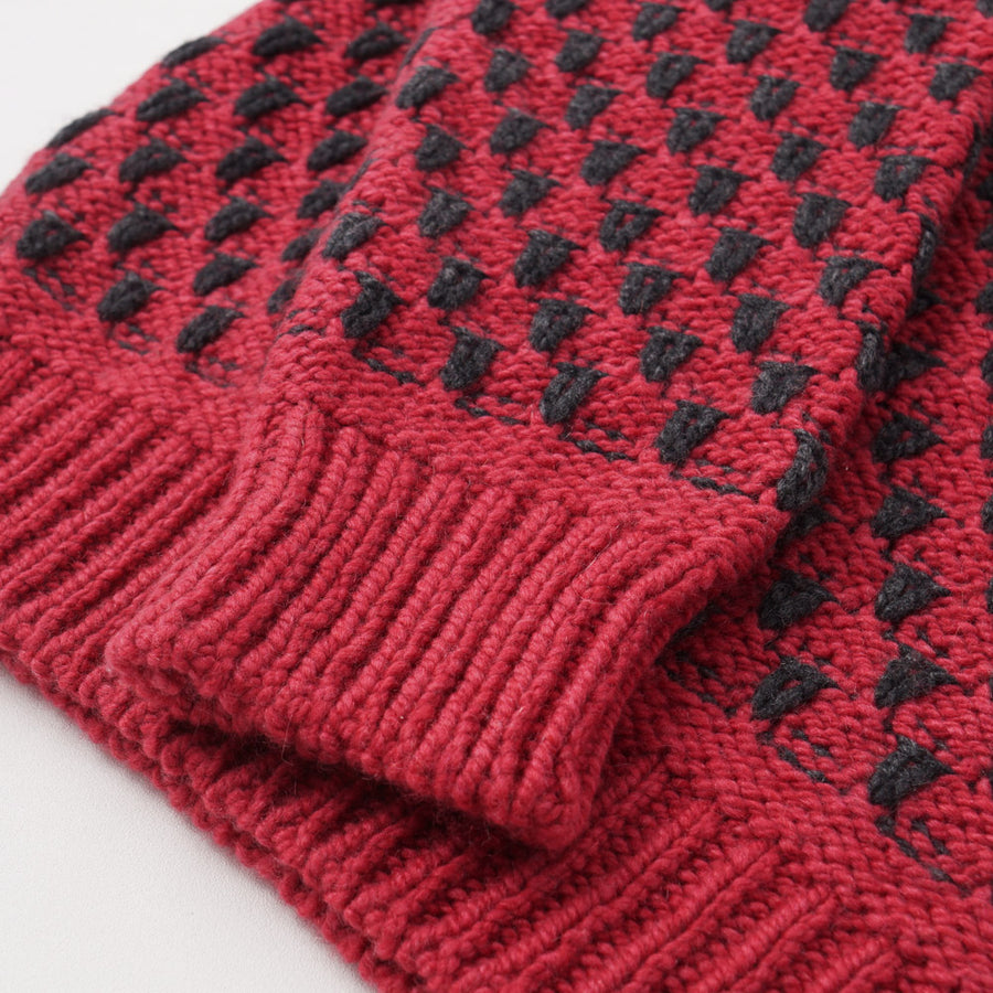 Kiton Red and Gray Patterned Regal Cashmere Sweater