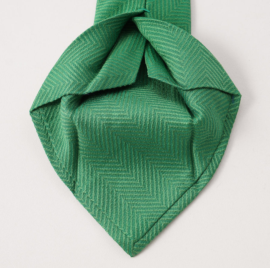 Kiton Watermelon Green Herringbone Silk Necktie - Top Shelf Apparel