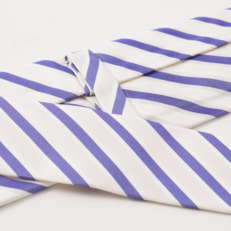 Kiton Slate White and Navy Ribbon Stripe Silk Necktie