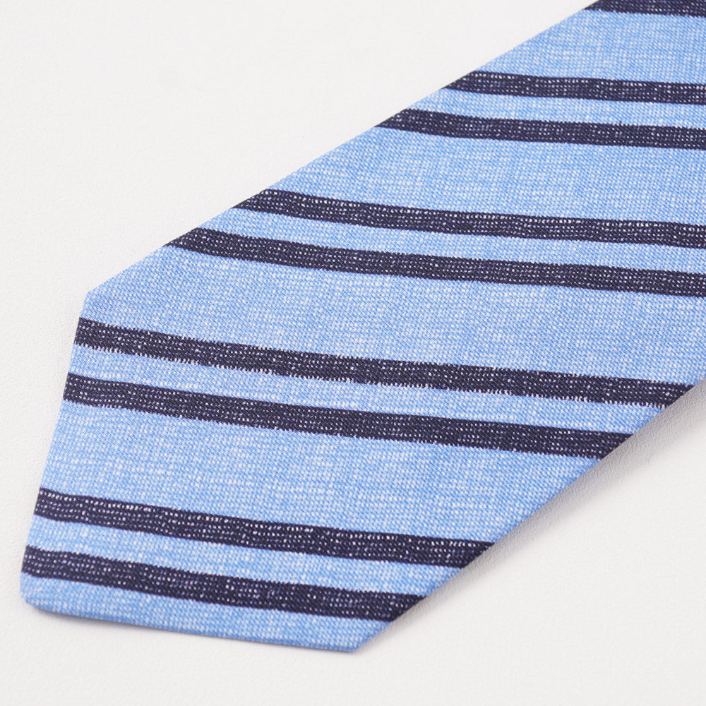 343c55a16c5da5 Kiton Navy and Sky Blue Striped Silk Tie – Top Shelf Apparel
