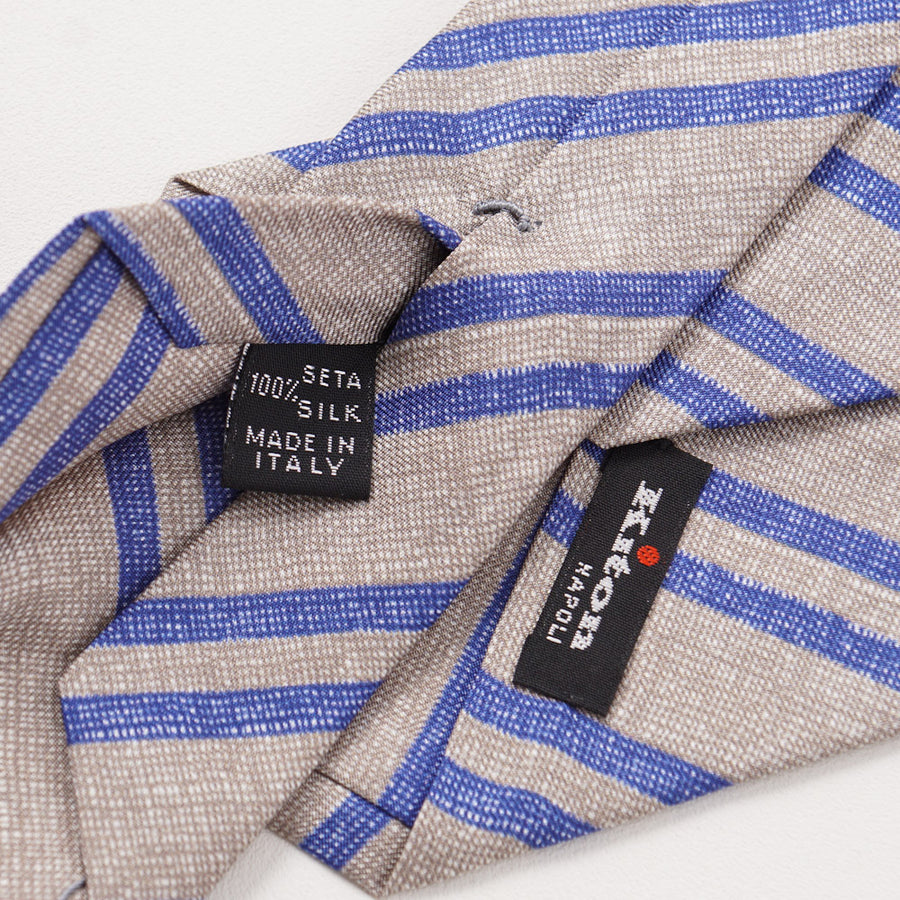 Kiton Tan and Blue Repp Striped Silk Tie - Top Shelf Apparel