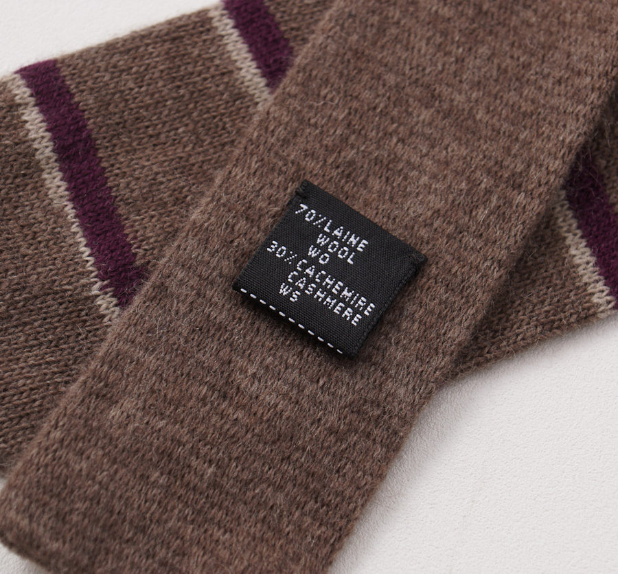 Kiton Brown and Plum Striped Knit Cashmere Tie