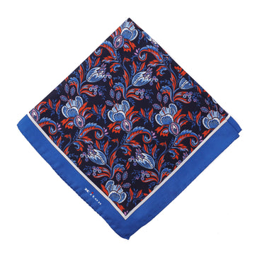 Kiton Floral Print Silk Pocket Square