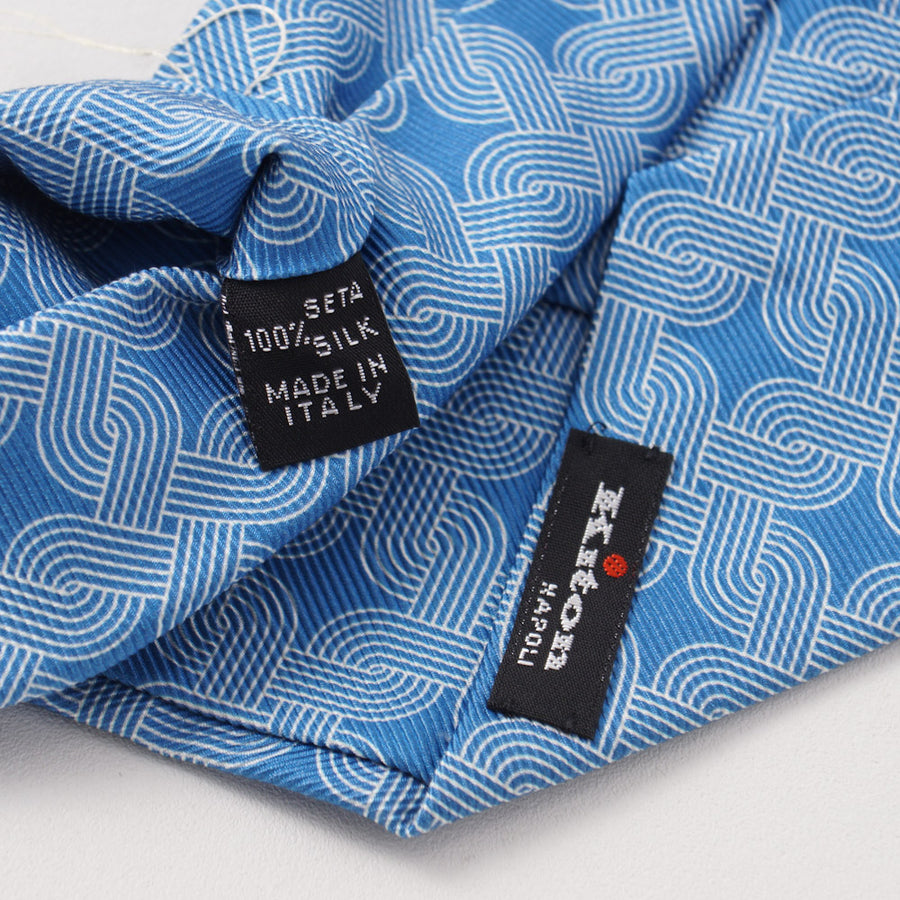 Kiton Sky Blue and White Interlocking Print Silk Tie