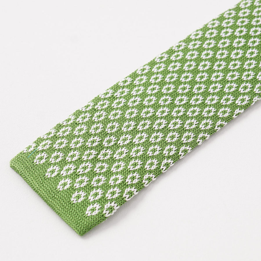Kiton Leaf Green Jacquard Knit Silk Tie - Top Shelf Apparel