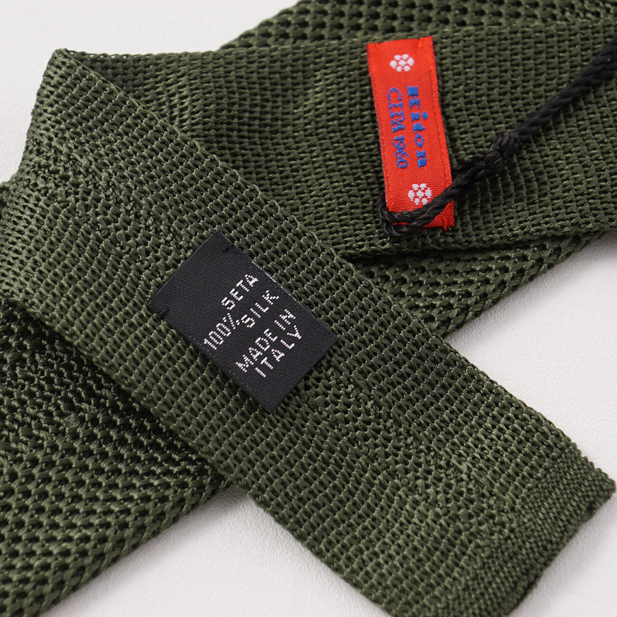 Kiton Solid Forest Green Knit Silk Tie - Top Shelf Apparel