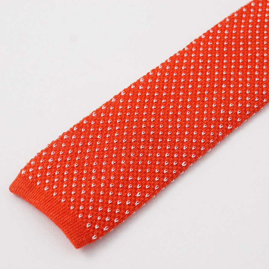 Kiton Red and White Jacquard Knit Linen Tie