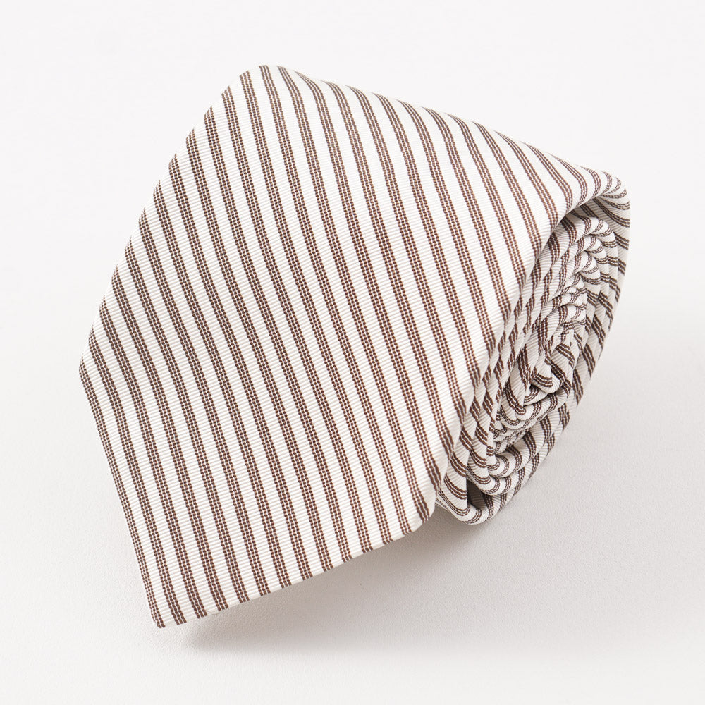 15fa24494b9a61 Kiton Ivory and Brown Striped Silk Necktie – Top Shelf Apparel