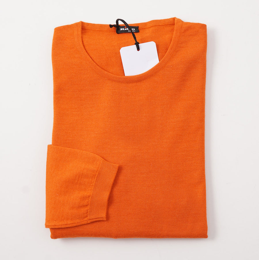 Kiton Orange Cashmere-Silk Crewneck Sweater