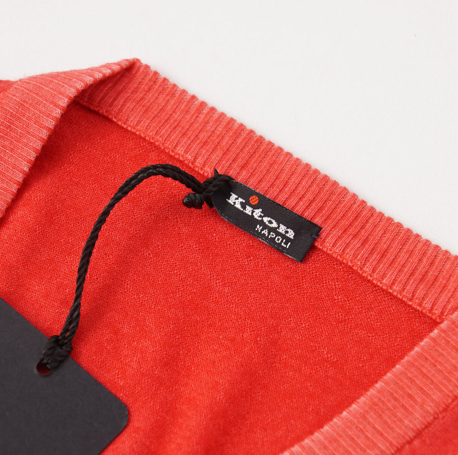Kiton Coral Pink Cashmere-Silk V-Neck Sweater - Top Shelf Apparel