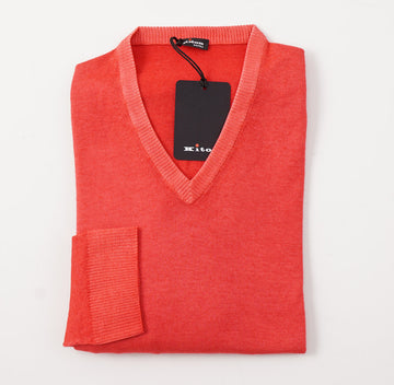 Kiton Coral Pink Cashmere-Silk V-Neck Sweater