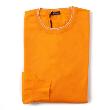 Kiton Lightweight Cotton Sweater in Bright Orange