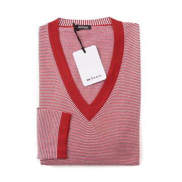 Kiton Lightweight Cotton Sweater in Red and White Stripe