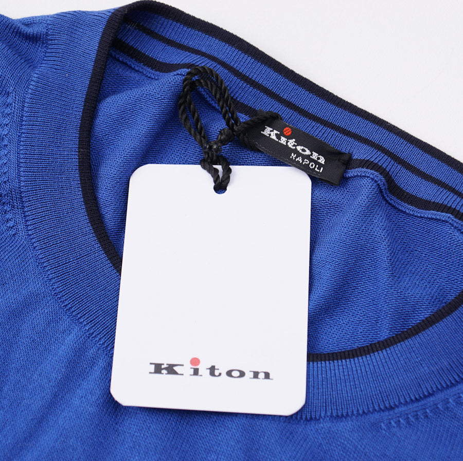 Kiton Bright Blue Tipped Silk Sweater