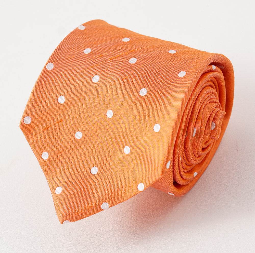29ca760a8d6cd4 Kiton Orange Dot Dupioni Silk Necktie – Top Shelf Apparel
