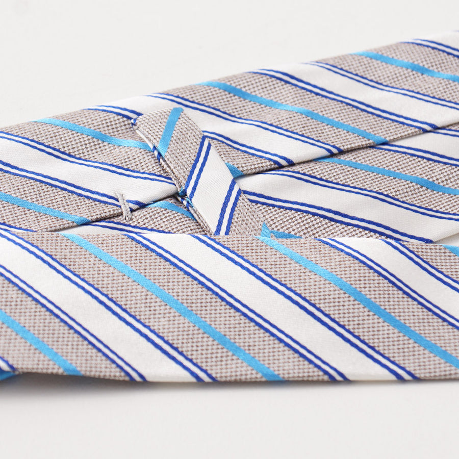 Kiton Ribbon Striped Silk Necktie