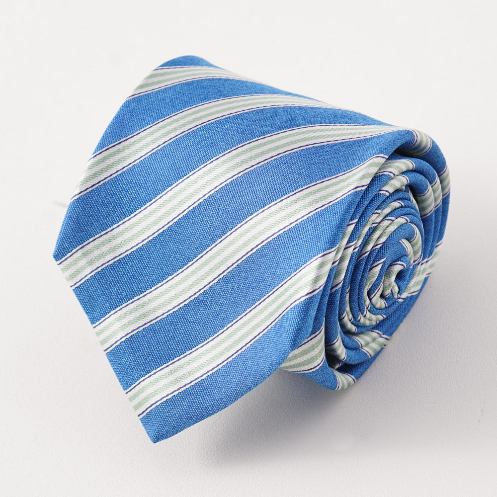 80d869459339e0 Kiton Caribbean Blue Striped Silk Necktie – Top Shelf Apparel