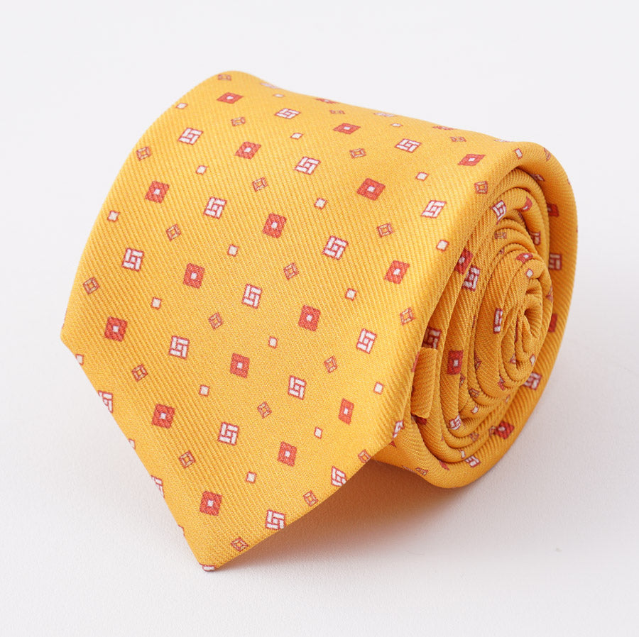 Kiton Yellow-Orange Foulard Print Silk Tie