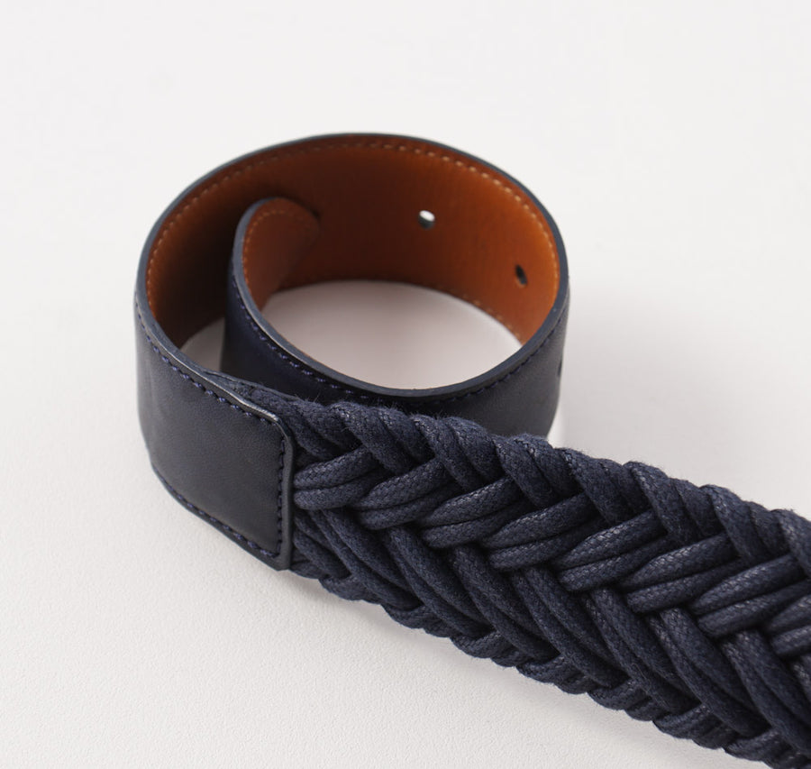 Kiton Navy Blue Braided Textile and Leather Belt - Top Shelf Apparel