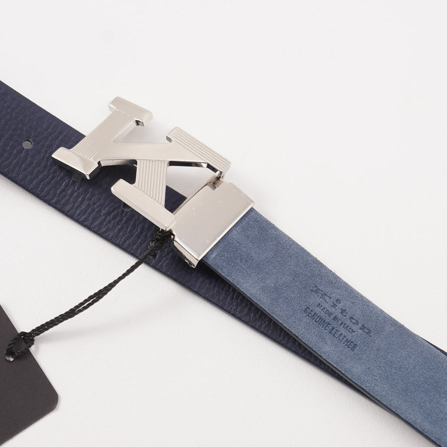 Kiton Reversible Leather Belt with Monogram Buckle