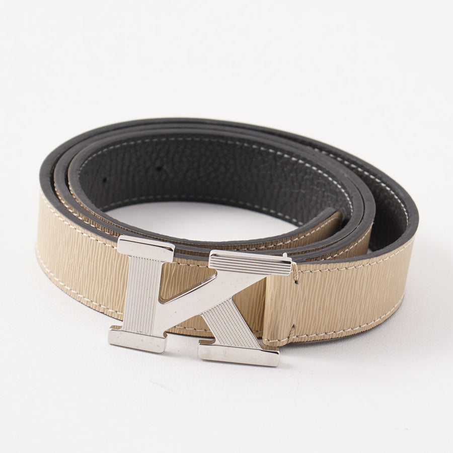Kiton Ivory Grained Belt with Monogram Buckle