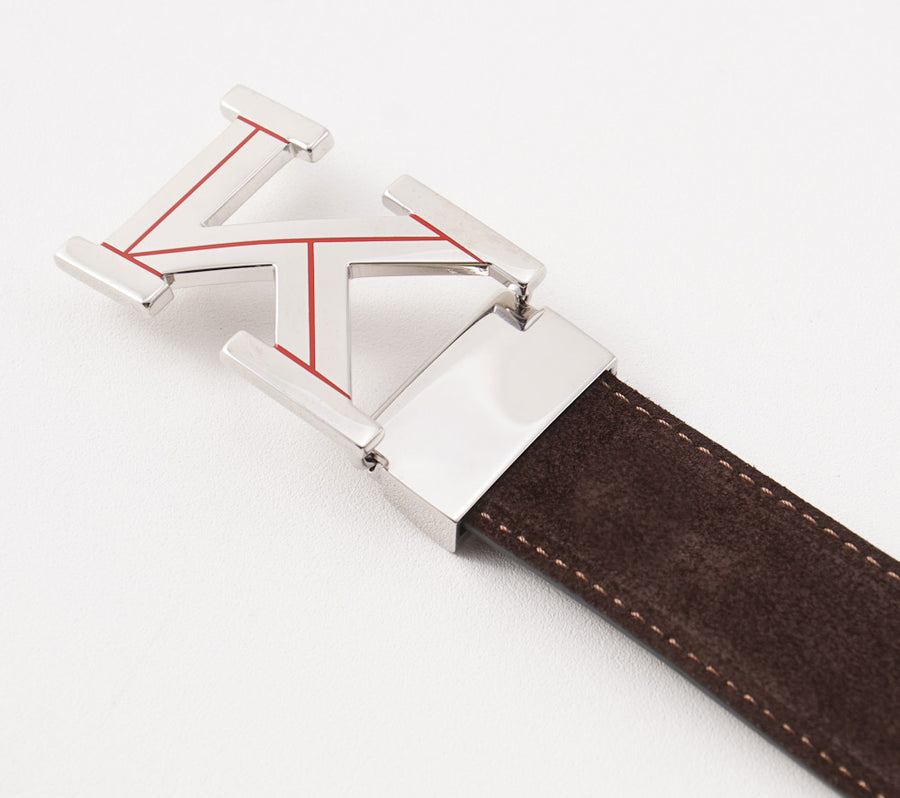 Kiton Reversible Calf Leather Belt with Monogram Buckle - Top Shelf Apparel