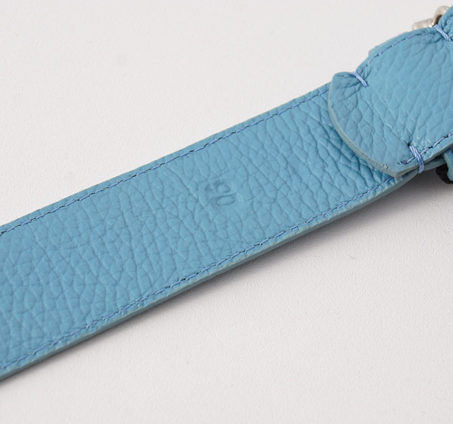 Kiton Sky Blue Calf Leather Belt with Monogram Buckle