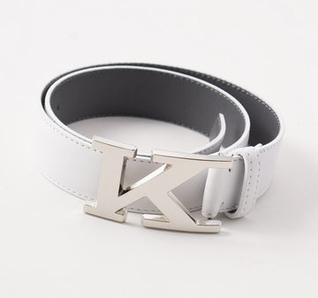 Kiton White Calf Leather Belt with Monogram Buckle