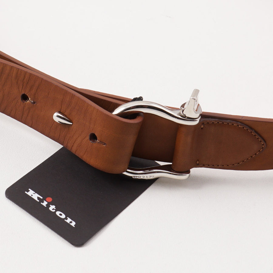 Kiton Light Brown Leather Belt with Shackle Ring Buckle - Top Shelf Apparel