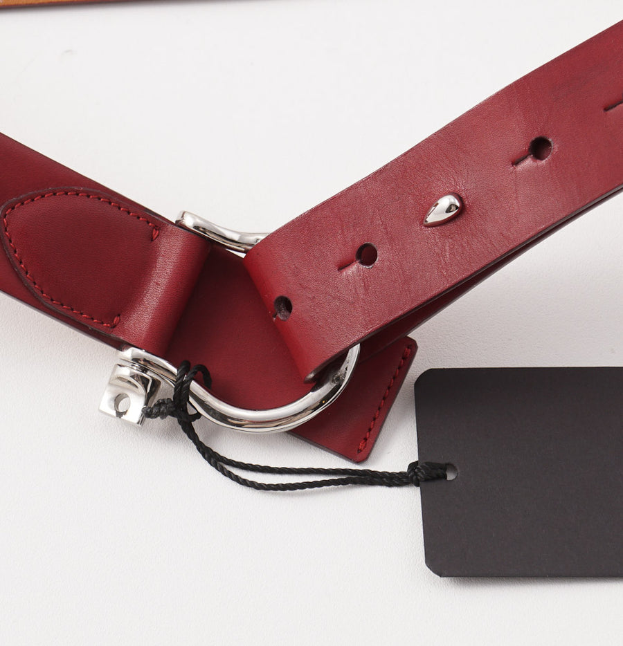 Kiton Burgundy Leather Belt with Shackle Ring Buckle