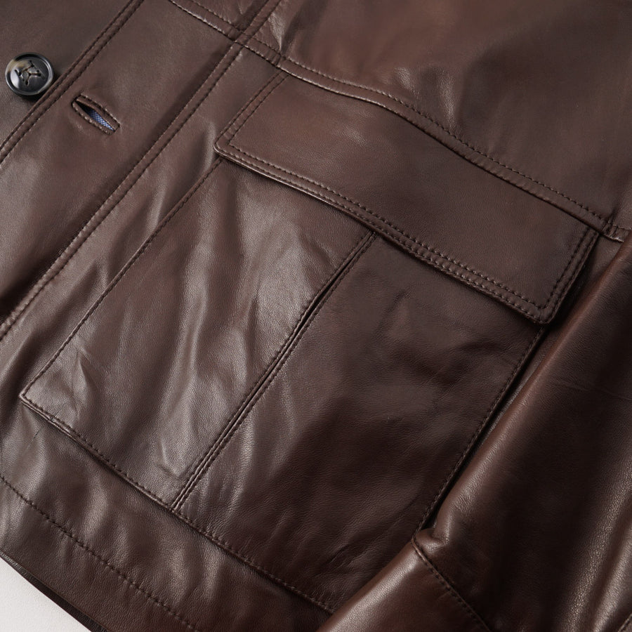 Kiton Lambskin Leather Field Jacket in Brown