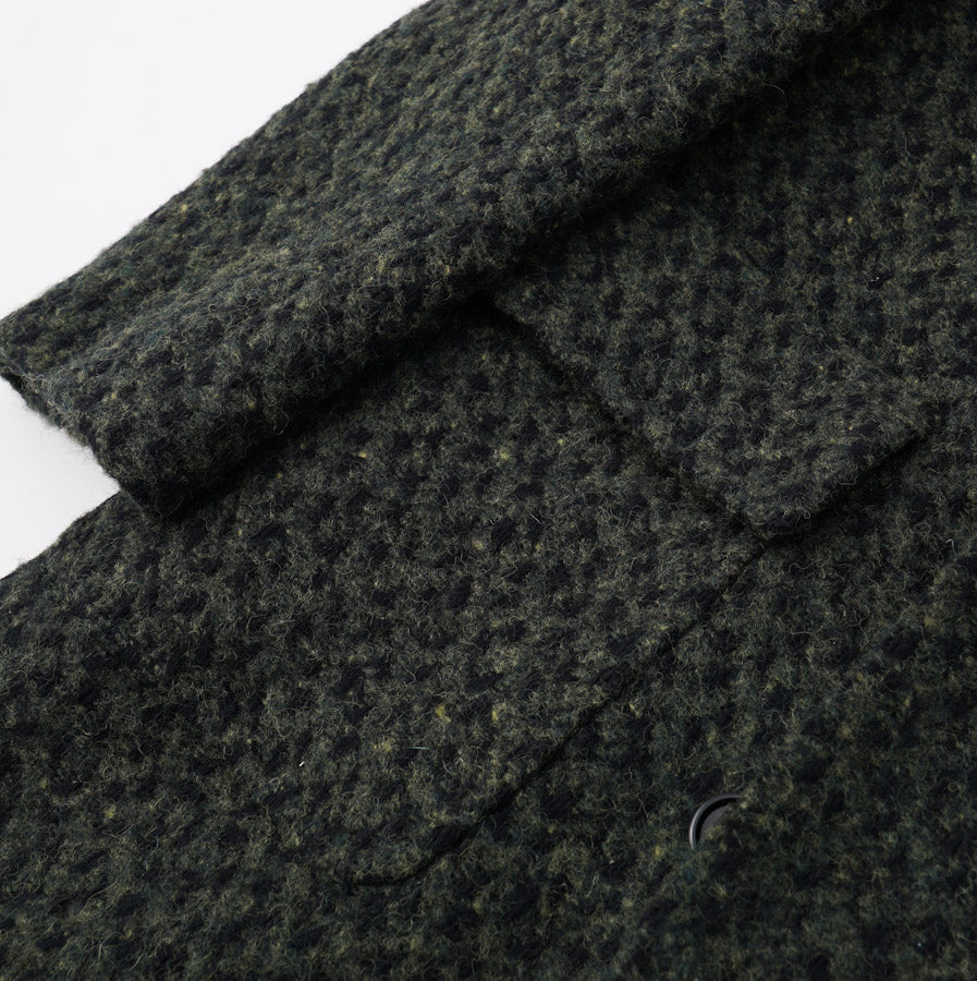 Kiton Dark Green Boucle Wool Coat