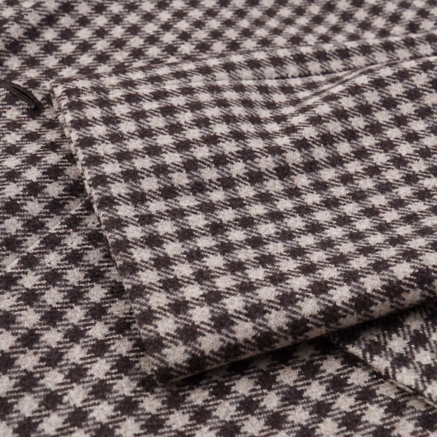 Kiton Brown Check Flannel Wool Coat - Top Shelf Apparel