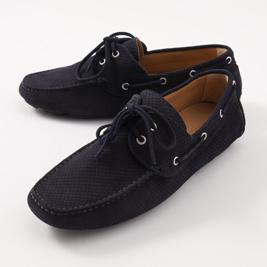 Kiton Driving Loafers in Navy Blue Suede