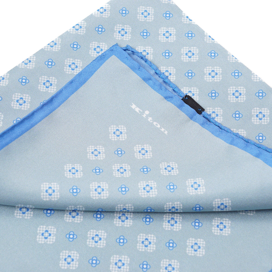 Kiton Medallion Print Silk Pocket Square