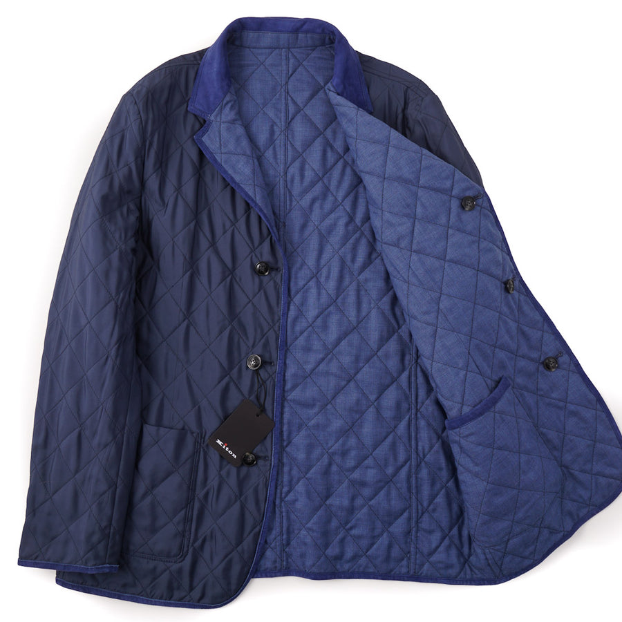 Kiton Reversible Quilted Cashmere and Silk Jacket