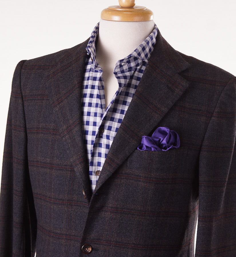 Kiton Gray Windowpane Cashmere Sport Coat - Top Shelf Apparel