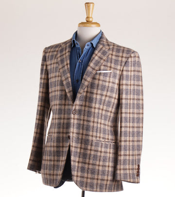 Kiton Brown and Blue Check Cashmere Sport Coat