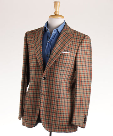 Kiton Green and Orange Check Cashmere Sport Coat