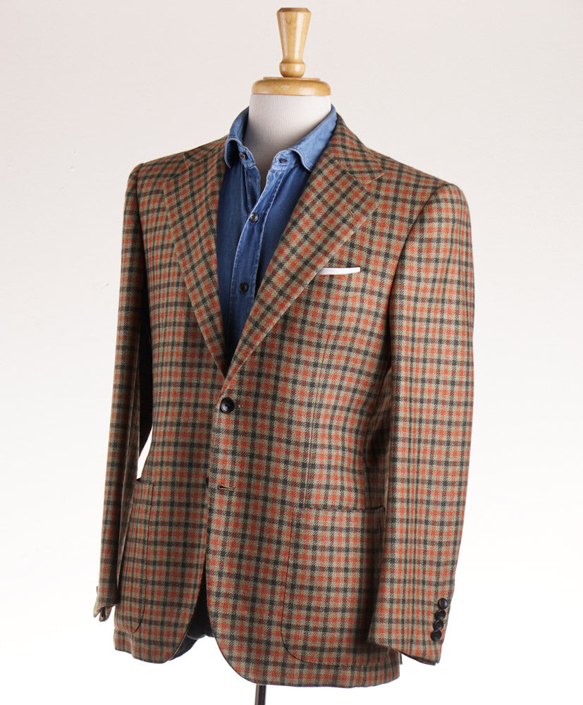 Kiton Green and Orange Check Cashmere Sport Coat - Top Shelf Apparel